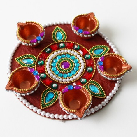 Decorative round diya plate 5 diyas online shopping 1 for Art and craft for diwali decoration