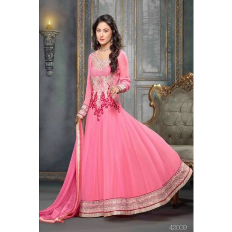 Pink Designer Color In New Latest Anarkali Suits-Clothing-Khantil India