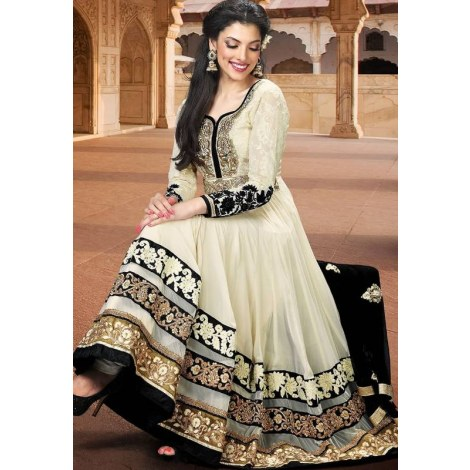 Cream designer embroidered semi stitched anarkali suit-Clothing-kumudkala