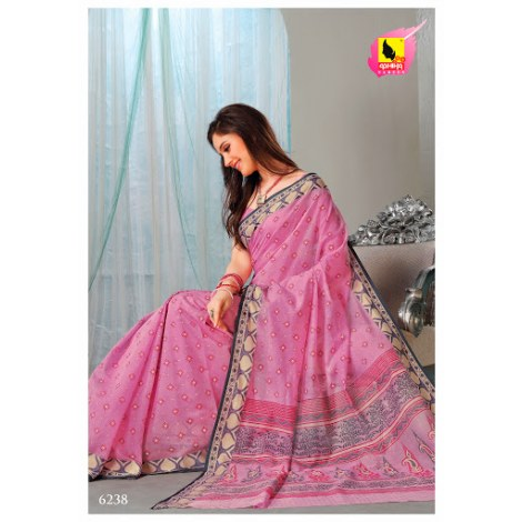 Saree In Cute Pink Colour In Cotton Machine Embroidery