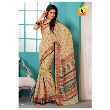 Saree Lemon Yellow Colour In Cotton Machine Embroidery