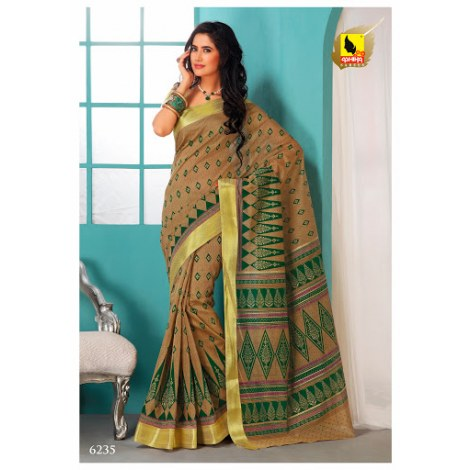 Saree In Beige And Green Colour In Cotton Machine