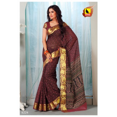 Saree Wine Colour In Cotton Machine Embroidery Striking