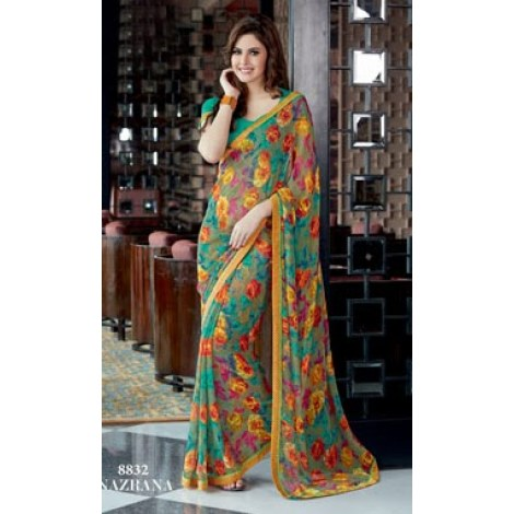 Flower Printed Sarees Flower Print Georgette Saree