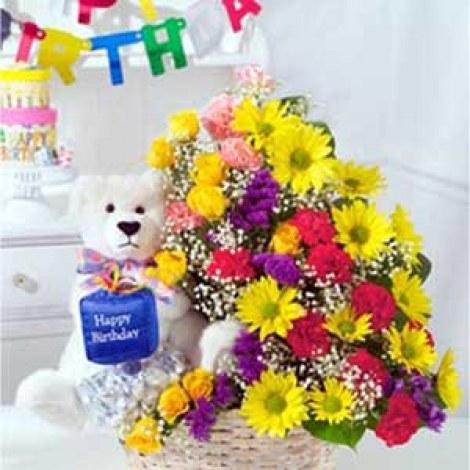 ... Basket of Flowers N Teddy Flower Gift -106-Flowers-Little India