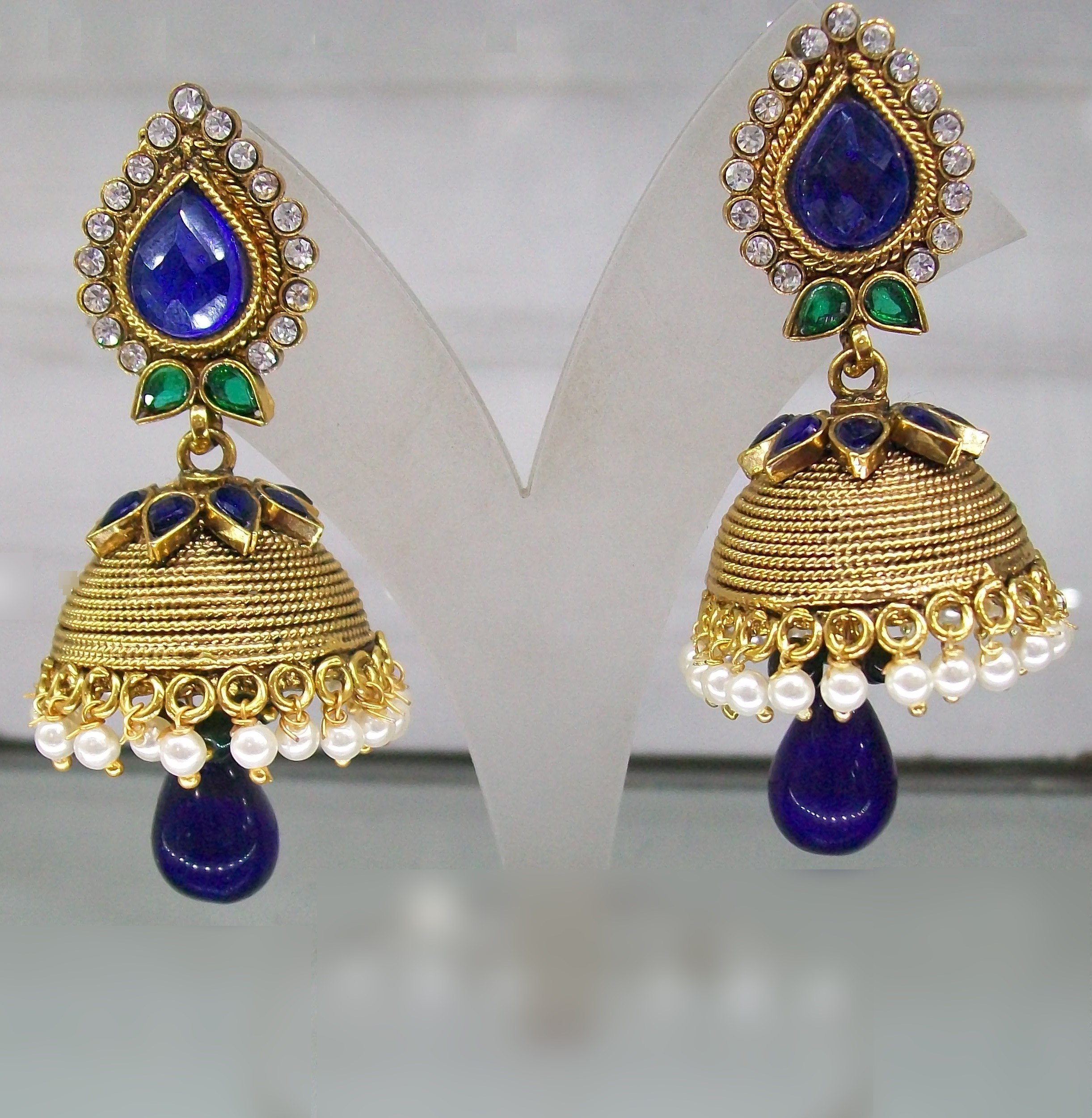 Deep blue and green combination jhumkas online shopping - Blue and green combination ...