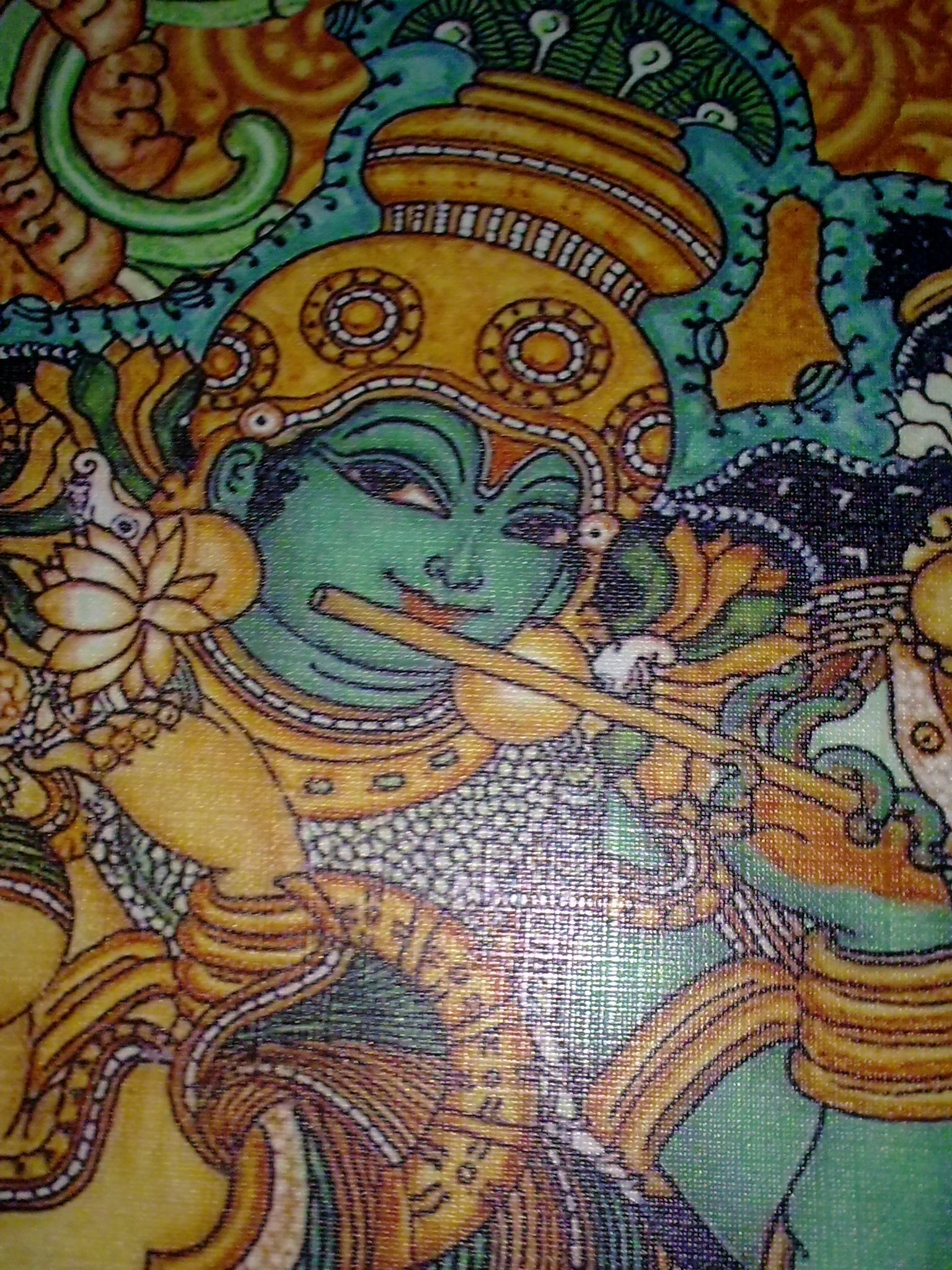 Radha with krishna playing flute kerala mural painting art for Mural radha krishna