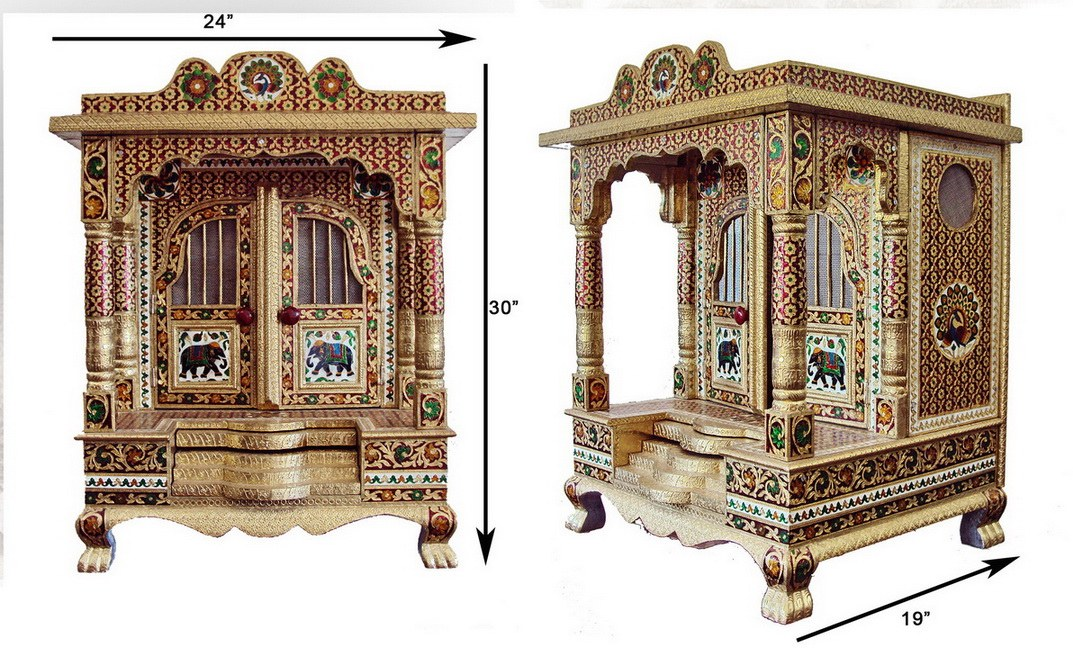 Custom Made Puja Pooja Cabinet Armoire Pictures to pin on Pinterest