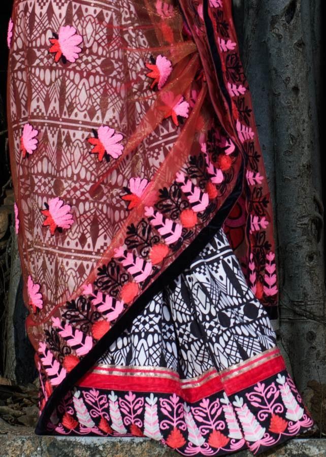 Embroidered net sador with printed cotton mekhela limited
