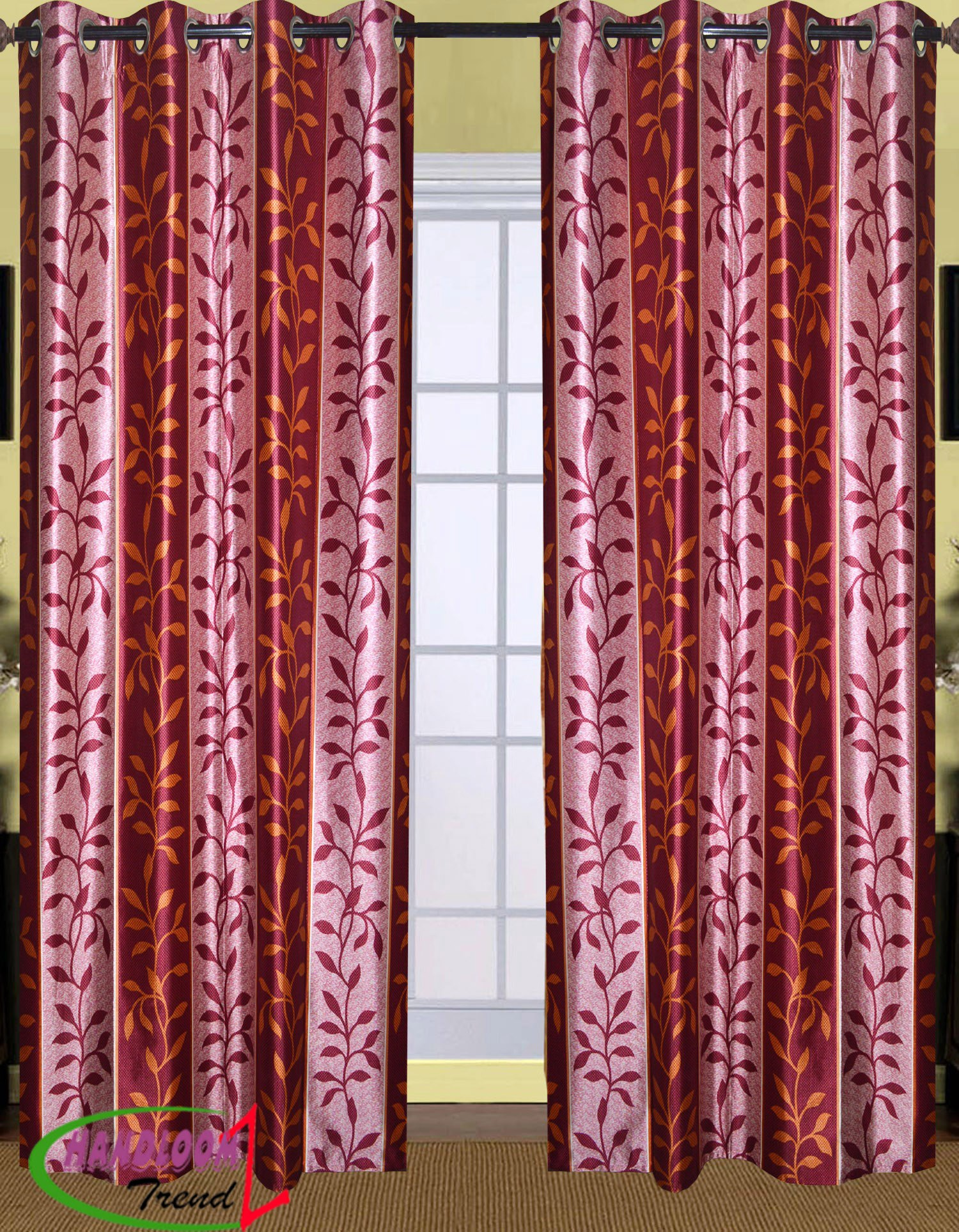 Curtain Drawing Leaves Design Door G255DR Home