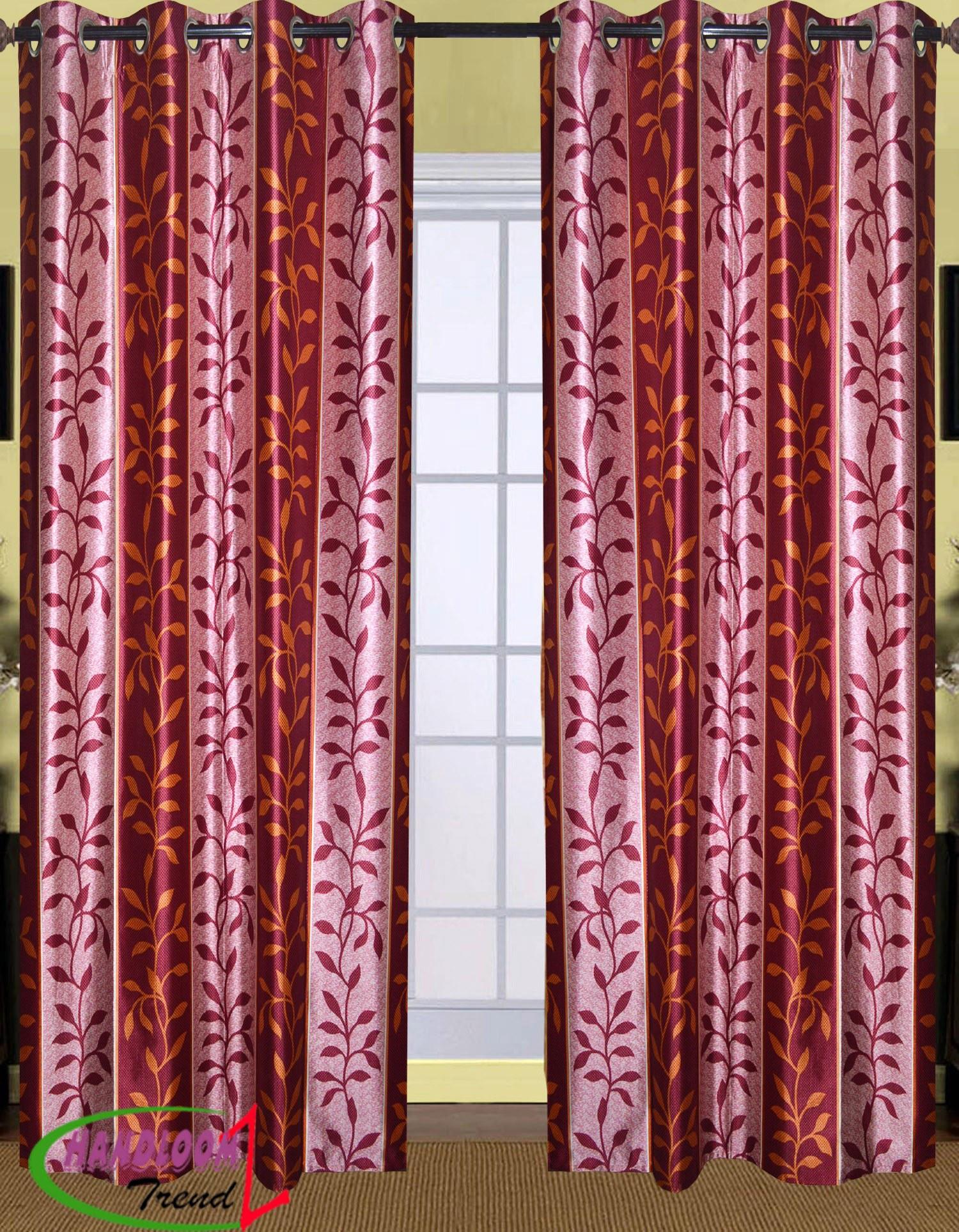 Leaves Design Door Curtain G255DR Home Furnishing HandloomTrendz