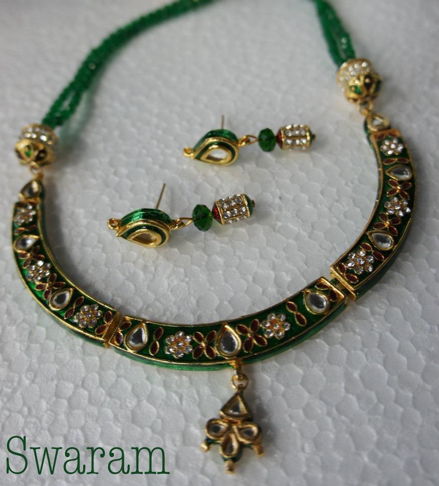 Kundan Jewelry Set: Reversible Kundan Necklace Set-Online Shopping