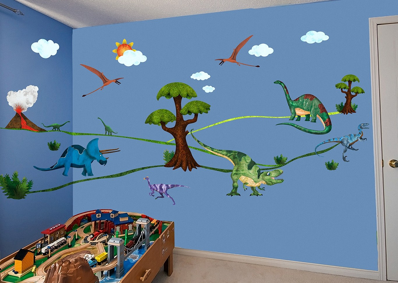 Dinosaur days repositionable stickers online shopping 5 for Dinosaur mural ideas