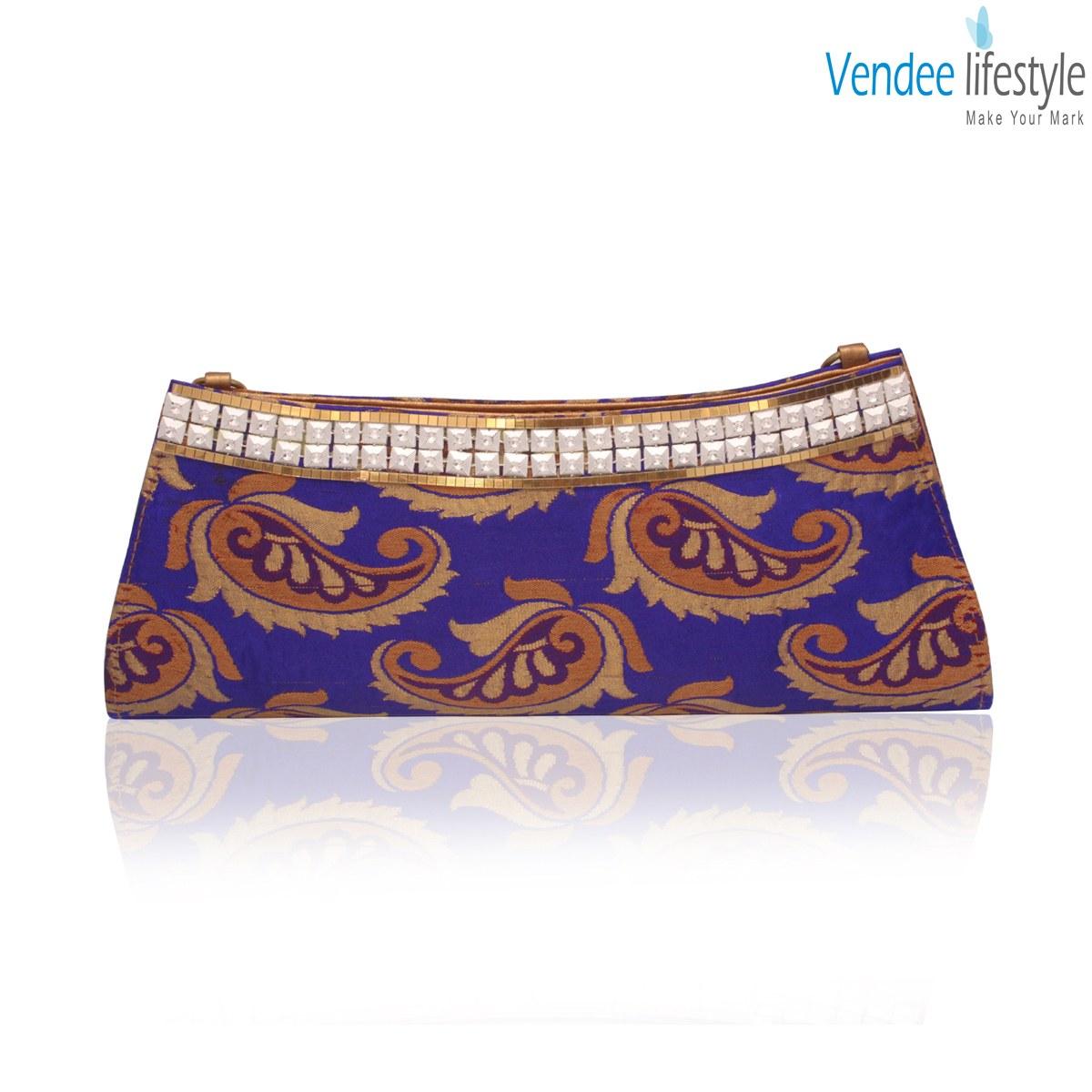 Blue Daily Wear Clutch 7340-Online Shopping-