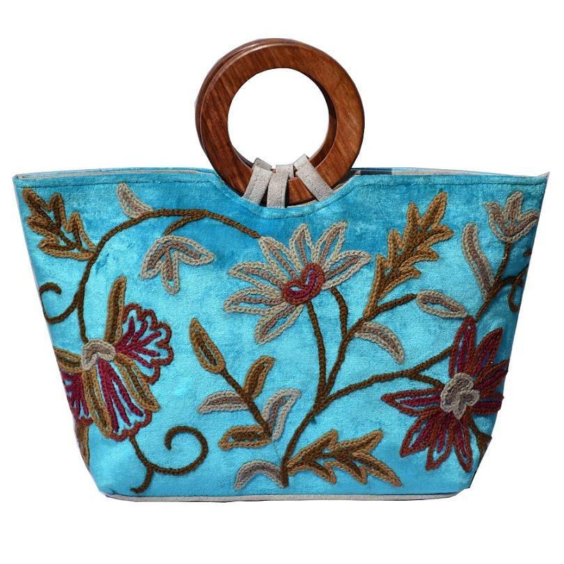 Kashmiri turquoise blue hand bag online shopping