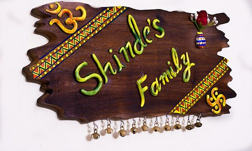 Designer ethnic wooden name plate online shopping - Name plate designs for home ...