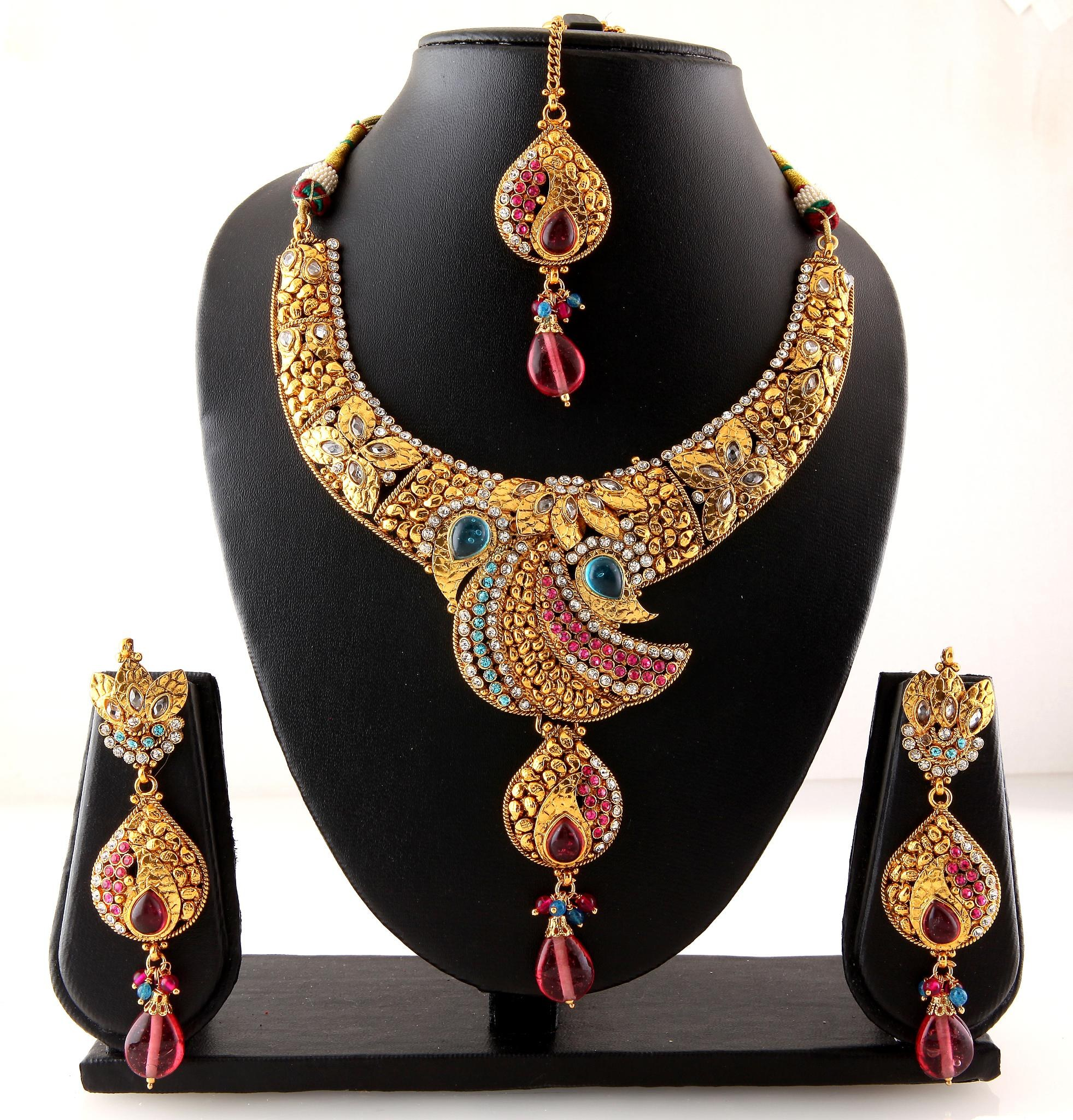 Modern Indian Wedding Jewellery: Traditional Indian Designer Bridal Colorful Polki Necklace