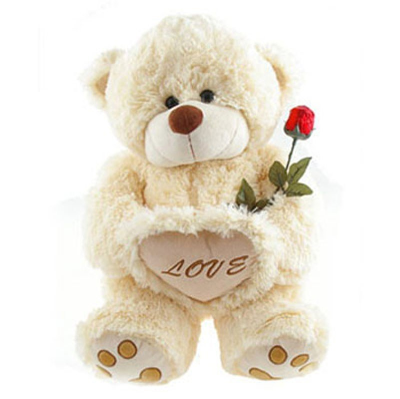 White Teddy Bears With Hearts And Roses Cute Teddy Bears With Hearts