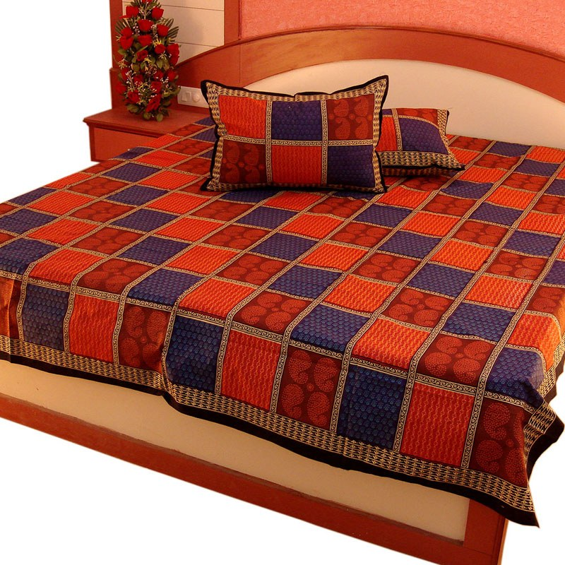 Pure Cotton Double Bed Sheet Home Furnishing -302-Online