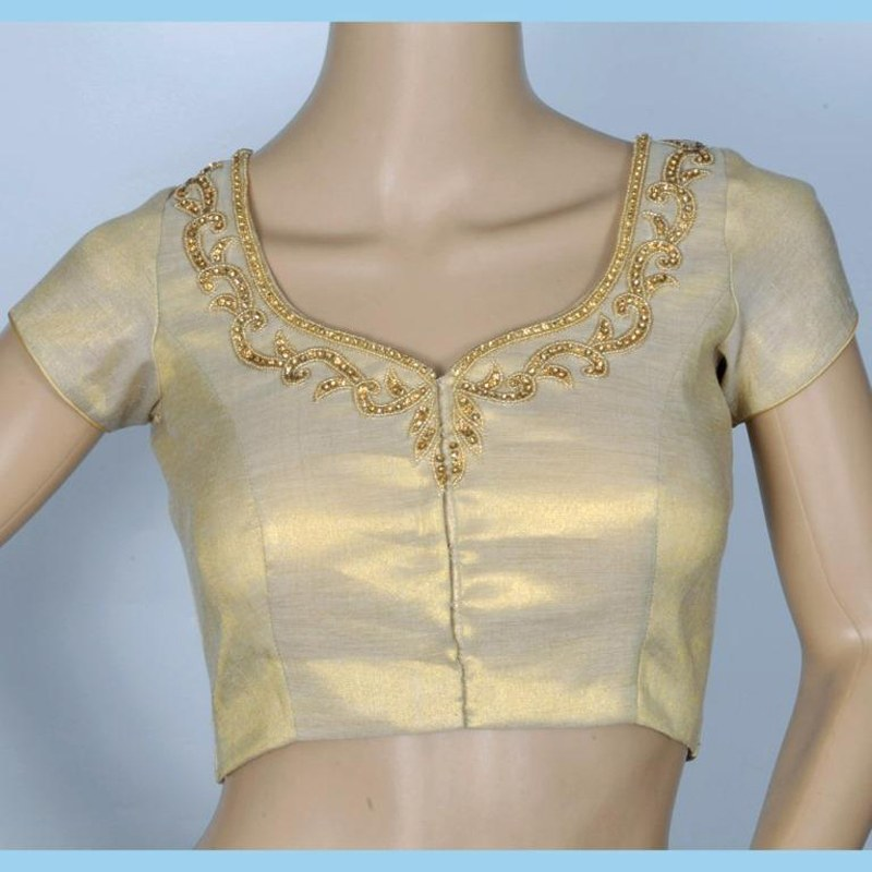 Gold tissue blouse with delicate hand embroidery clothing