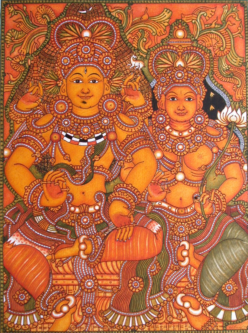 Kerala mural art paintings shiva and parvathi online for Canvas mural painting