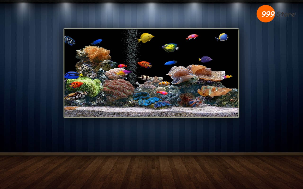 Living room fish aquarium printed wall art painting for Aquarium decoration paint