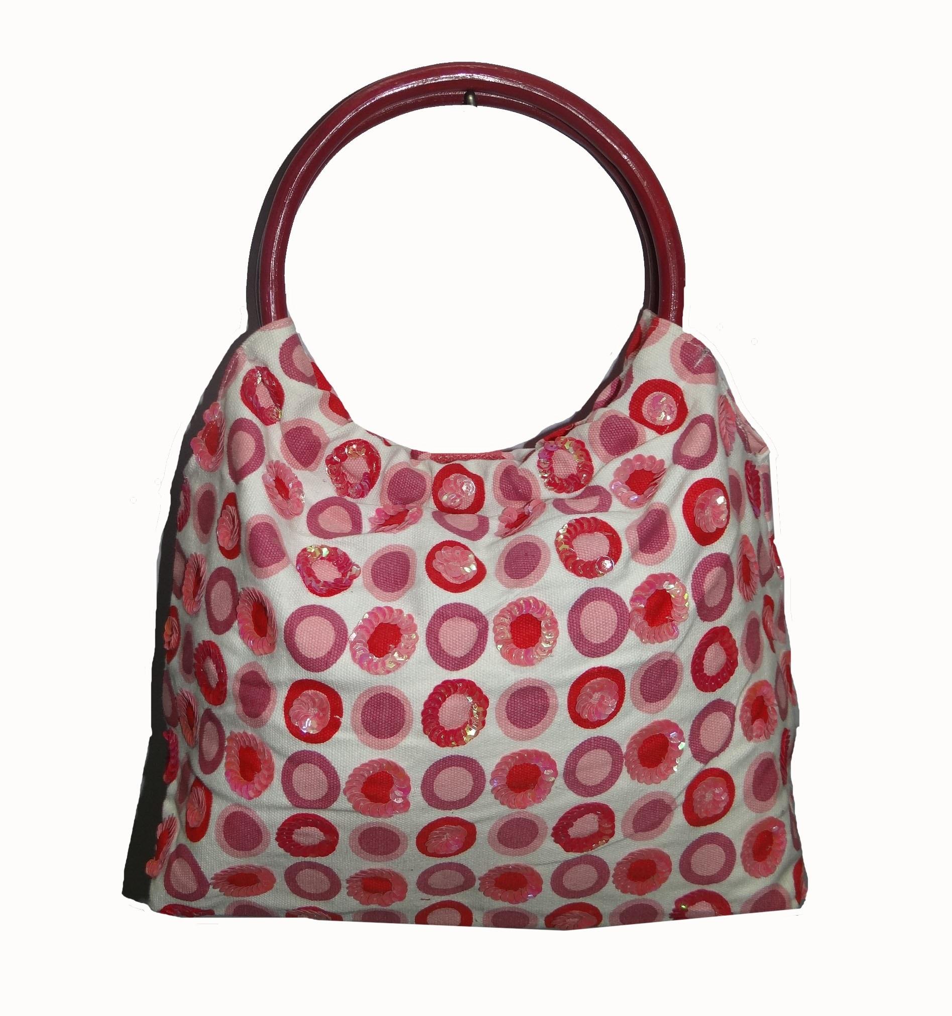 Ladies Hand bag W/Dot print,& Embroidery,,Stylish Daily ...