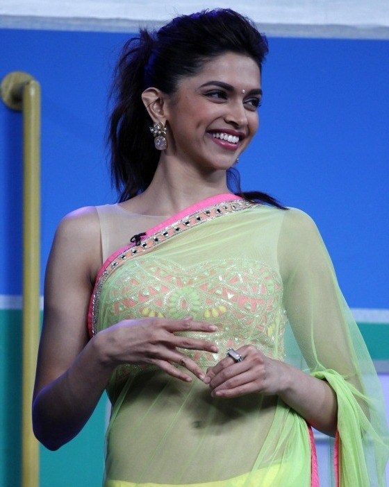 Deepika padukone green net bollywood replica saree ...