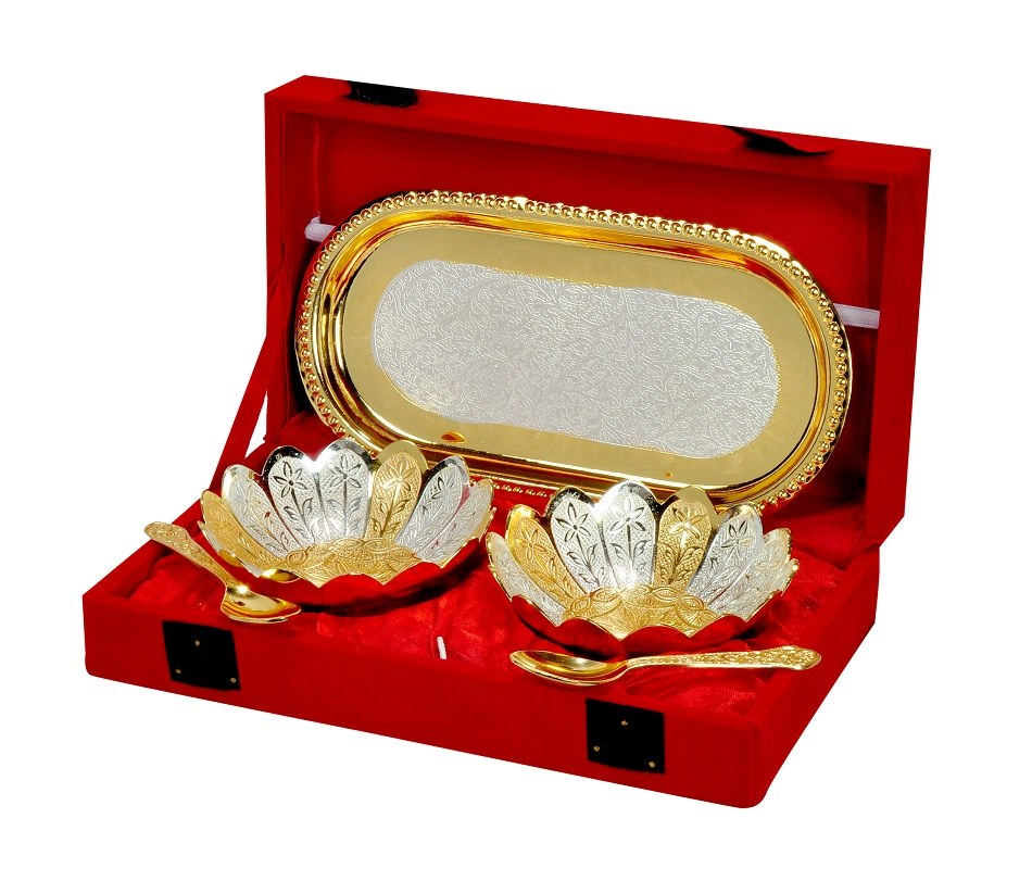 Wedding Gifts Online: Wedding Gift Brass Bowl Silver And Gold Plated With Tray