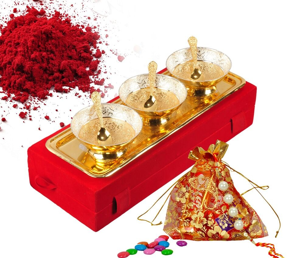 Wedding Gifts For Couples Online Shopping India : Raksha Bandhan Gifts Silver And Gold Plated Brass Bowls -Rakhi Gifts ...
