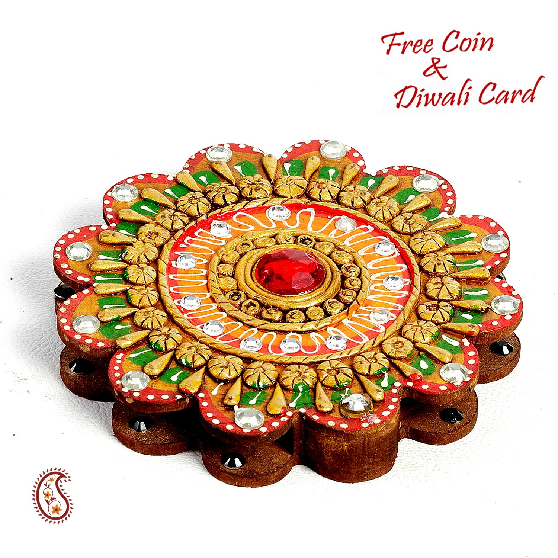 Diwali Lights Online Shop: Floral Design Kumkum Chopra Made In Wood And Clay