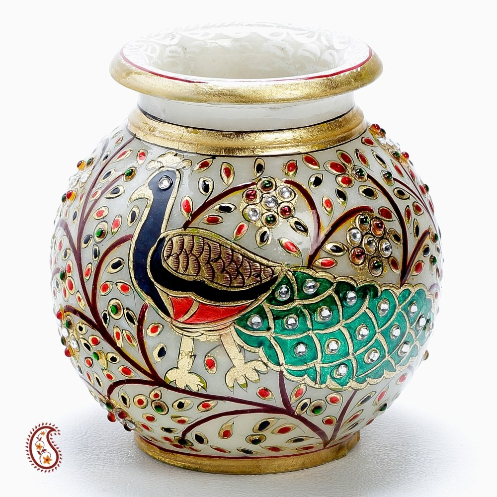 Hand painted peacock marble pot with gold paint and kundan for Pot decoration pictures