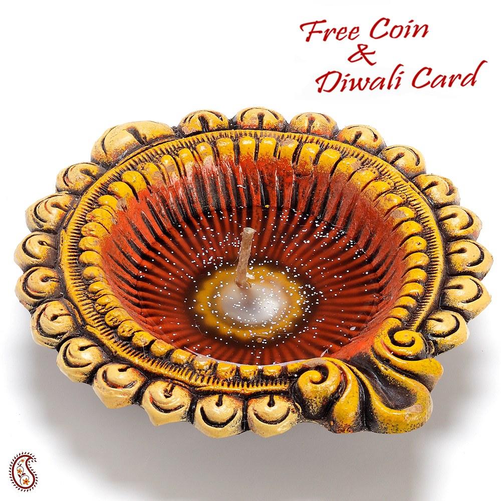 Diwali Lights Online Shop: A Big Earthen Gel Filled Diya