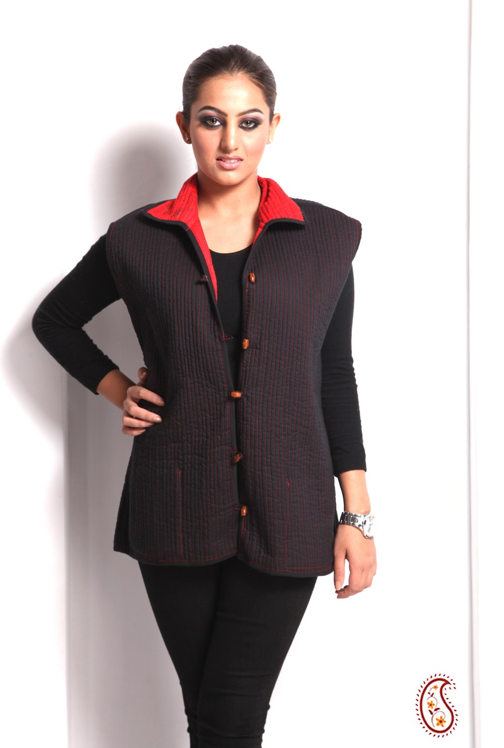 Comfy Cotton Quilted Jaipuri Womenu0026#39;s Jacket In Red-Online Shopping-