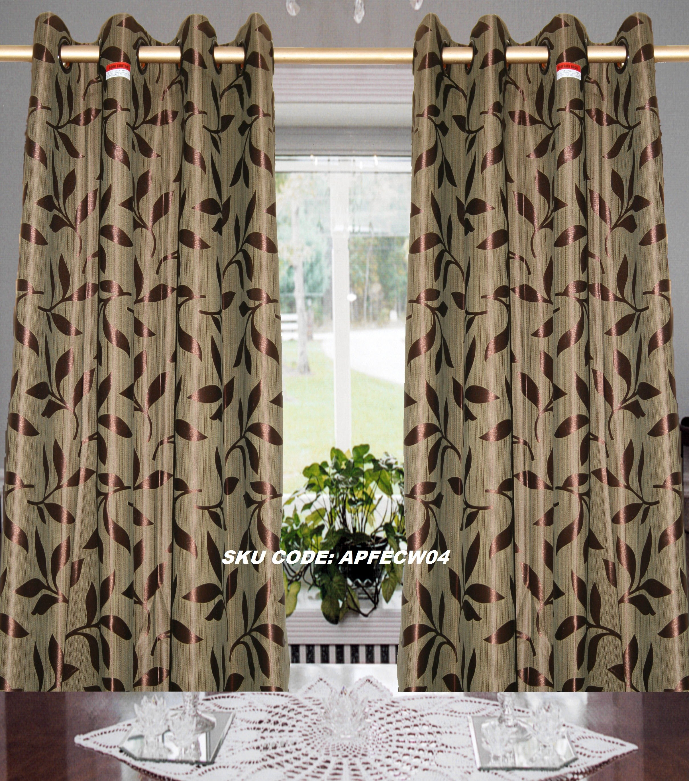 Art Pack Small Leaf Design Window Eyelet Curtain Online