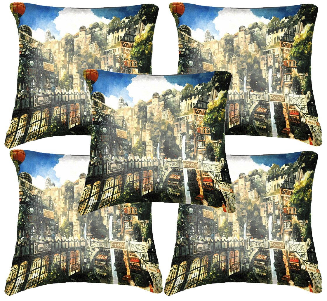 Belkado Digital Print Set Of 5 39 Old Newyork 39 Cushion