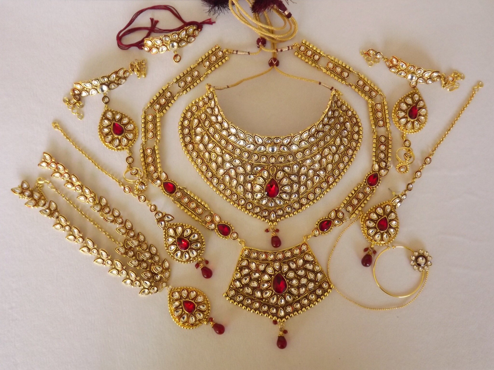 Full Bridal Set In Kundan And Polki Online Shopping