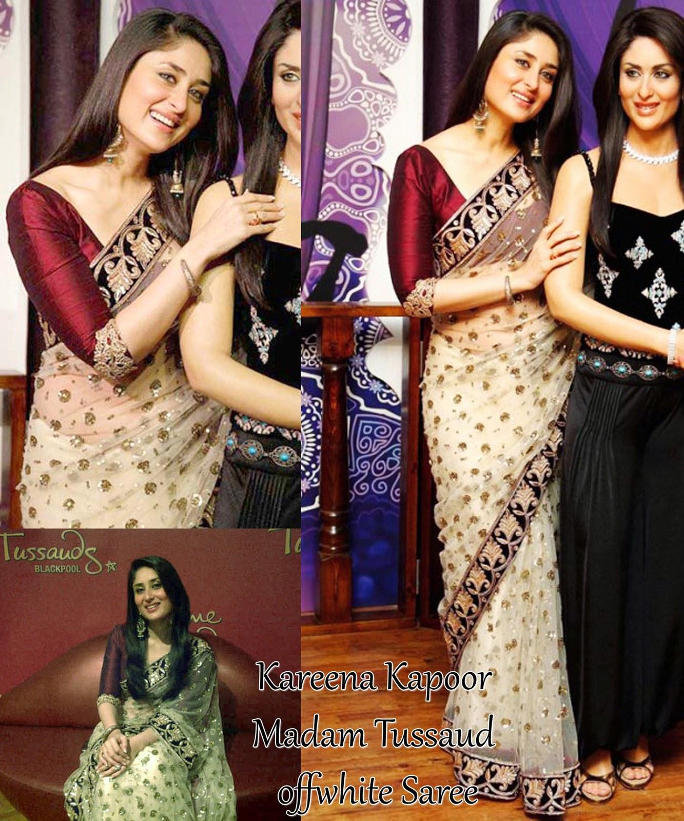 Designer Bollywood Star Kareena Kapoor Beige Embroidered