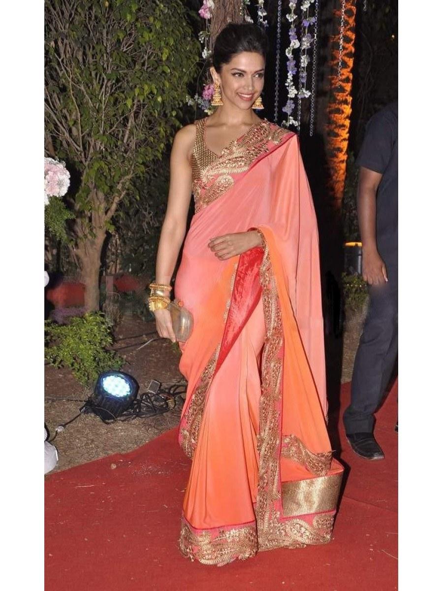 Deepika Padukone Orange Shaded Designer Bollywood Replica ...
