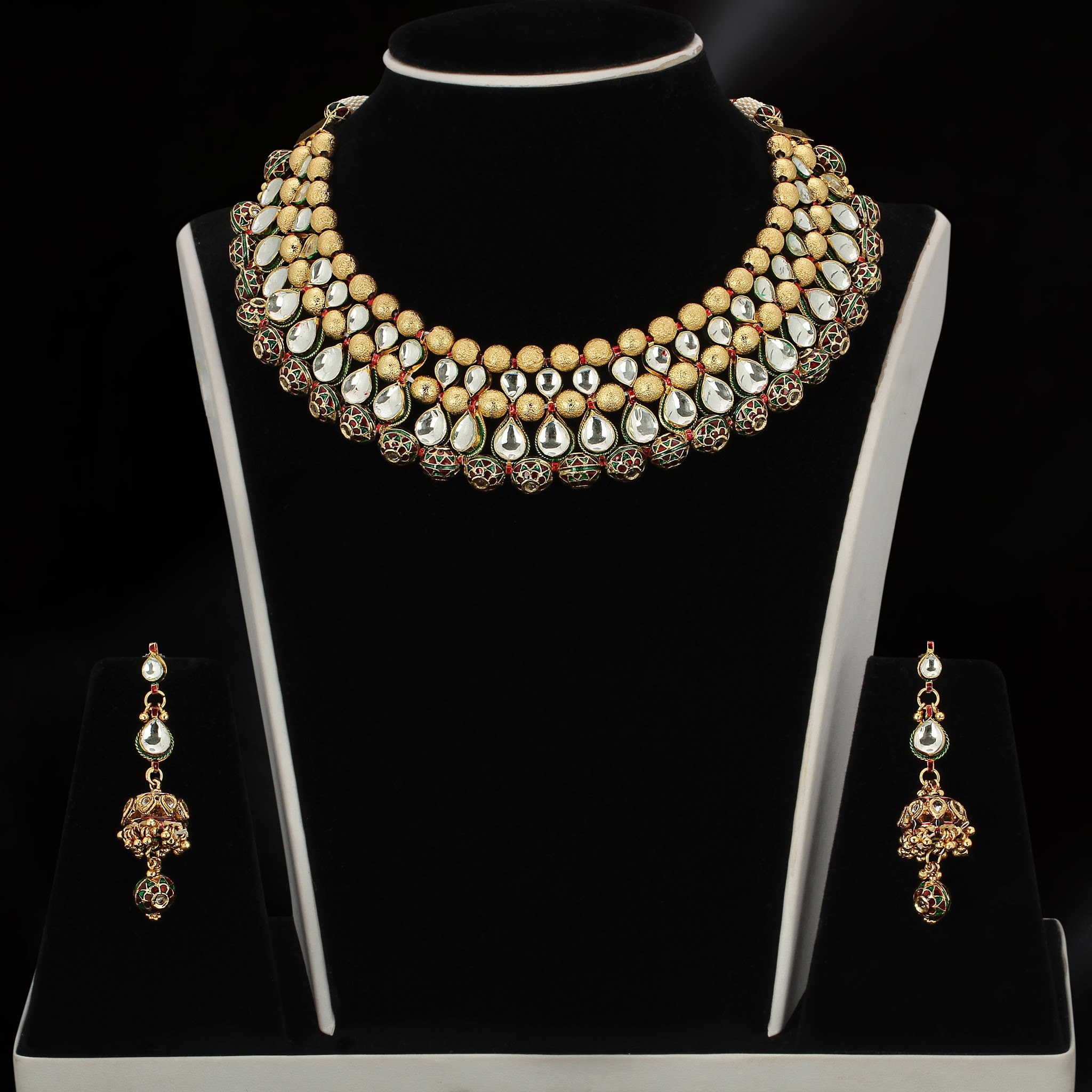 necklaces matching earrings designs original golden designers jewellery stone designer pearl shreevaram set buy necklace online fashion chain jewelry with