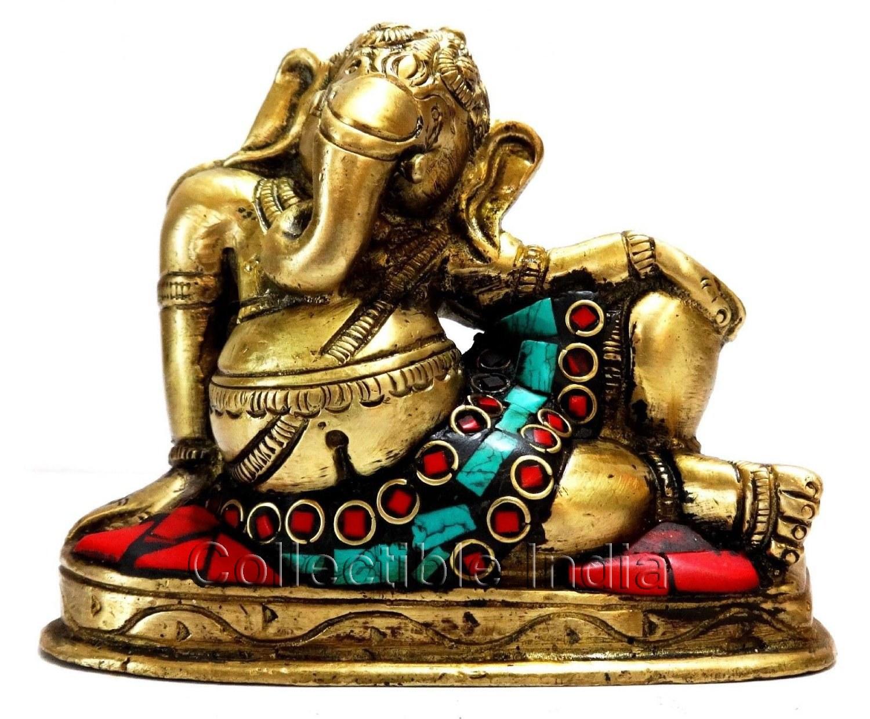 Wedding Statue Gifts: Elephant Lord Ganesh Ganesha Brass Statue In Resting