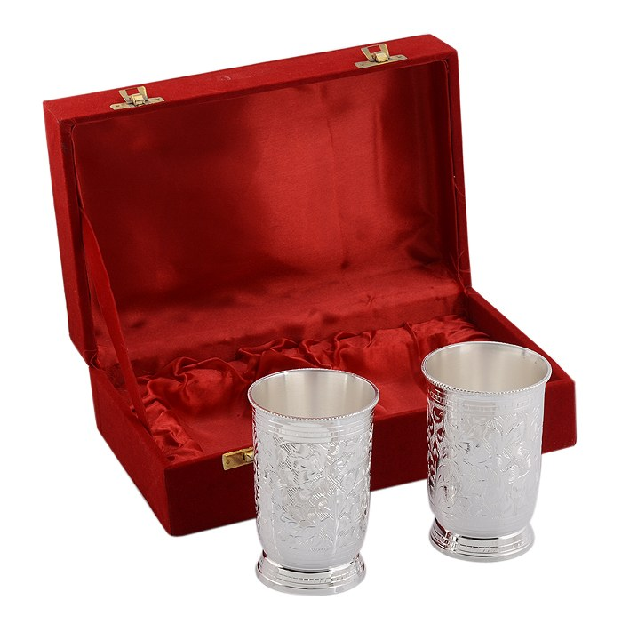 Silver plated glass set 2 pcs with box online shopping for Art decoration international pvt ltd