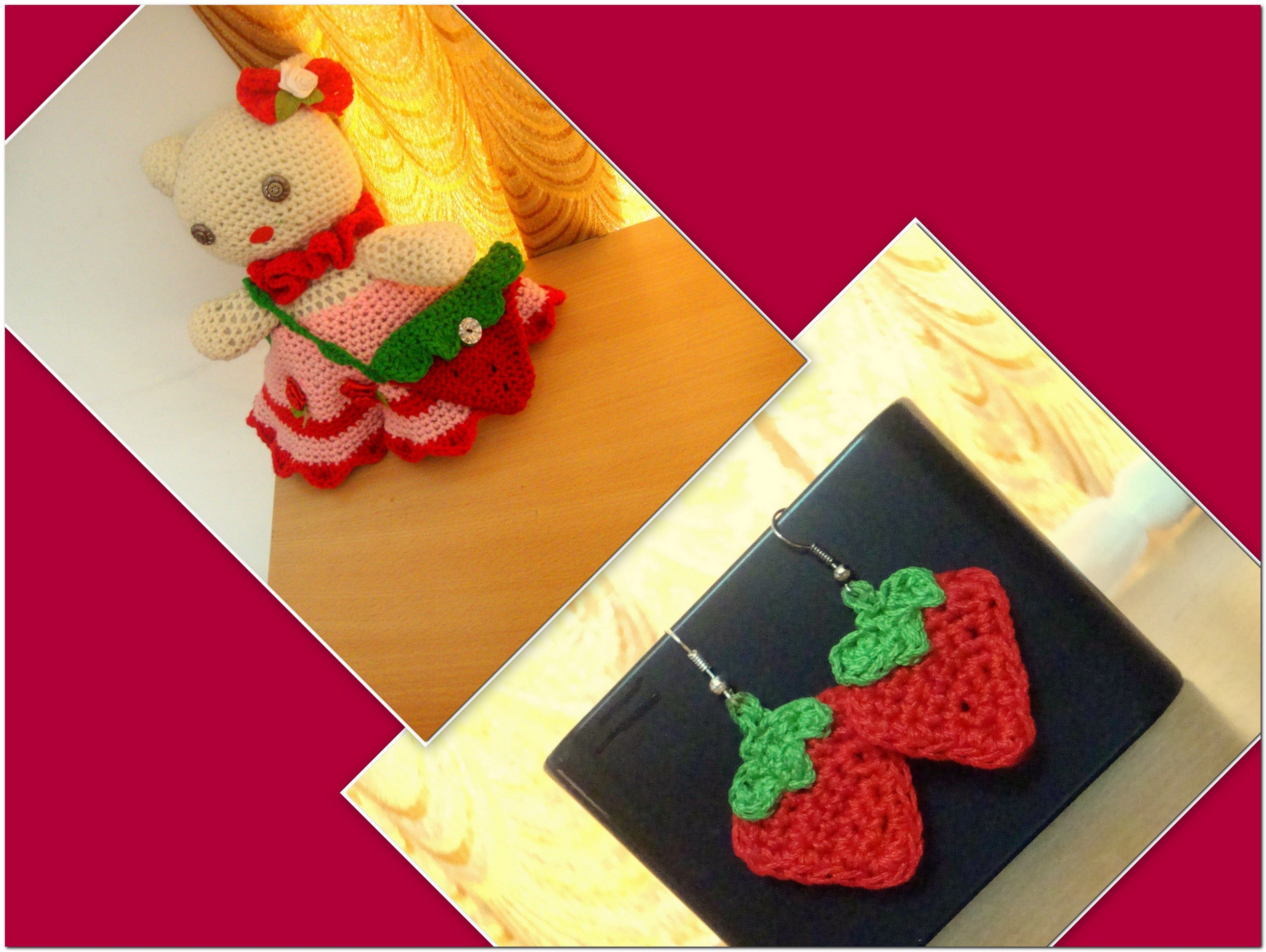 Crochet strawberry coin bag for gals online shopping for Crafts to donate to charity