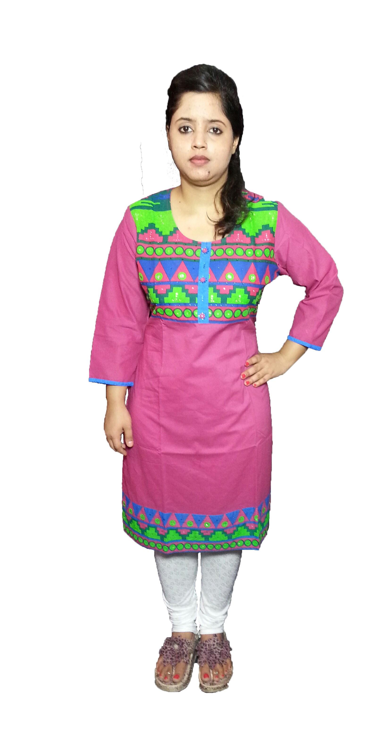 darpan couture 39 s collection designer pink kurti m l xl. Black Bedroom Furniture Sets. Home Design Ideas