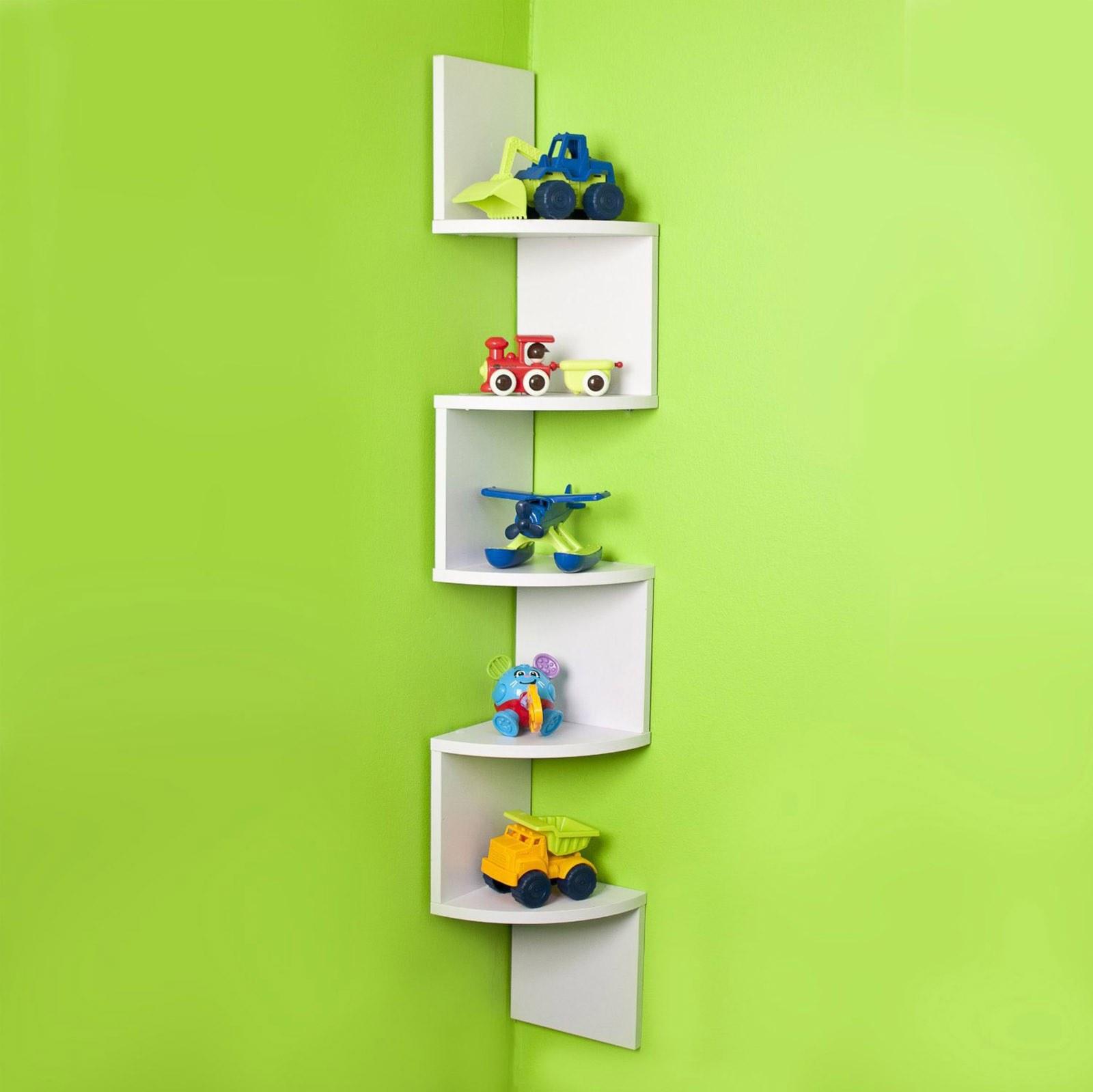 Corner Wall Shelf ZigZag Wall 5 Shelves Unit Wall Decor ...
