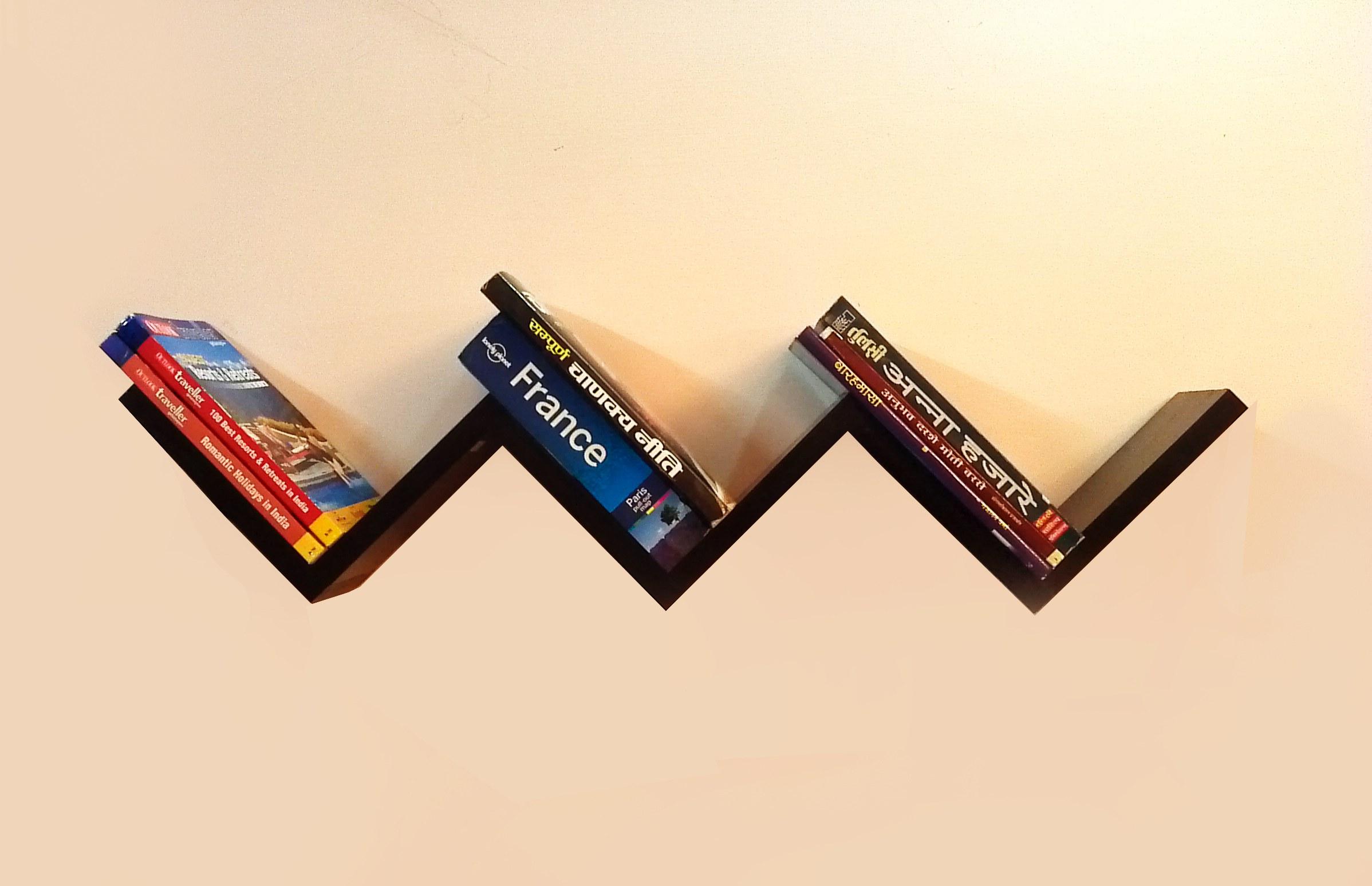 "Set of 2 ""W"" Step Shape Wall Shelves Accent Decor Art"