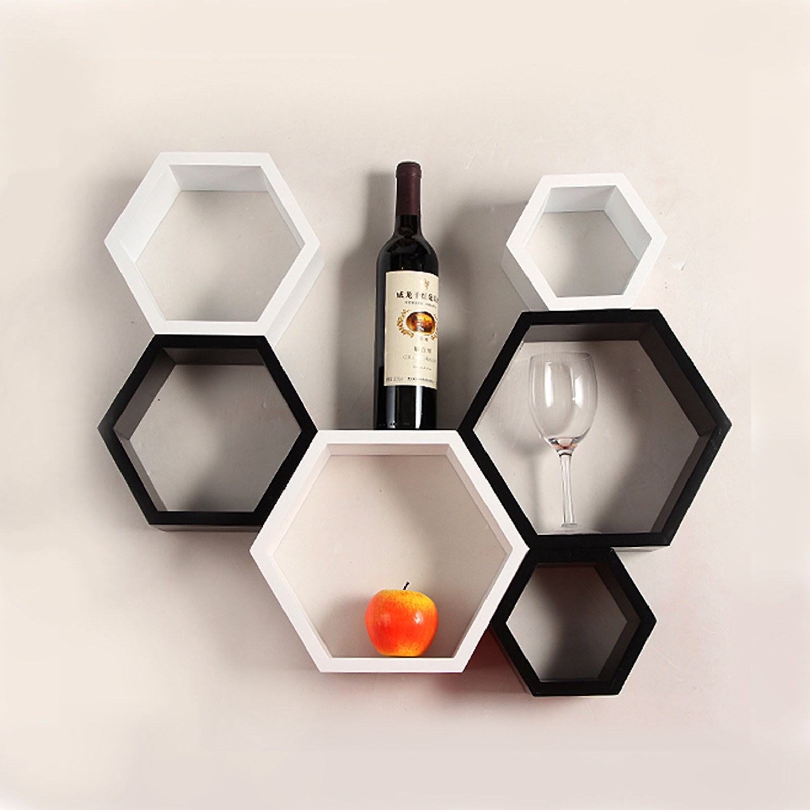 Very Impressive portraiture of wall mount shelves hexagon shape set of 6 wall shelves black white  with #C68E05 color and 1600x1600 pixels