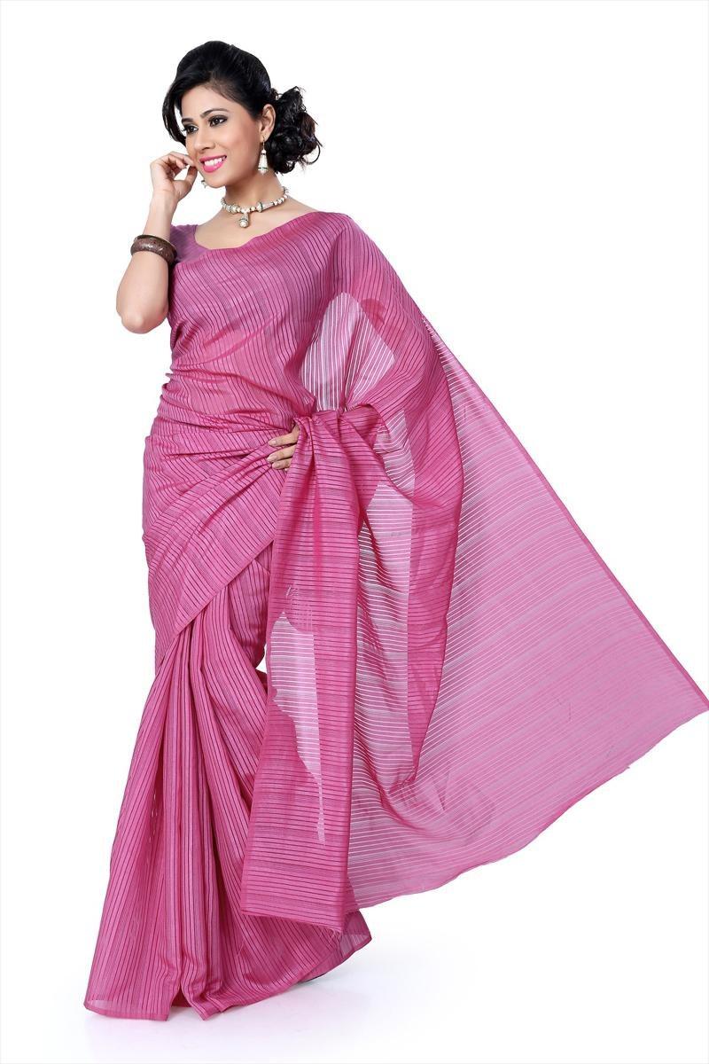 onion pink bhagalpuri silk saree with unstitched blouse