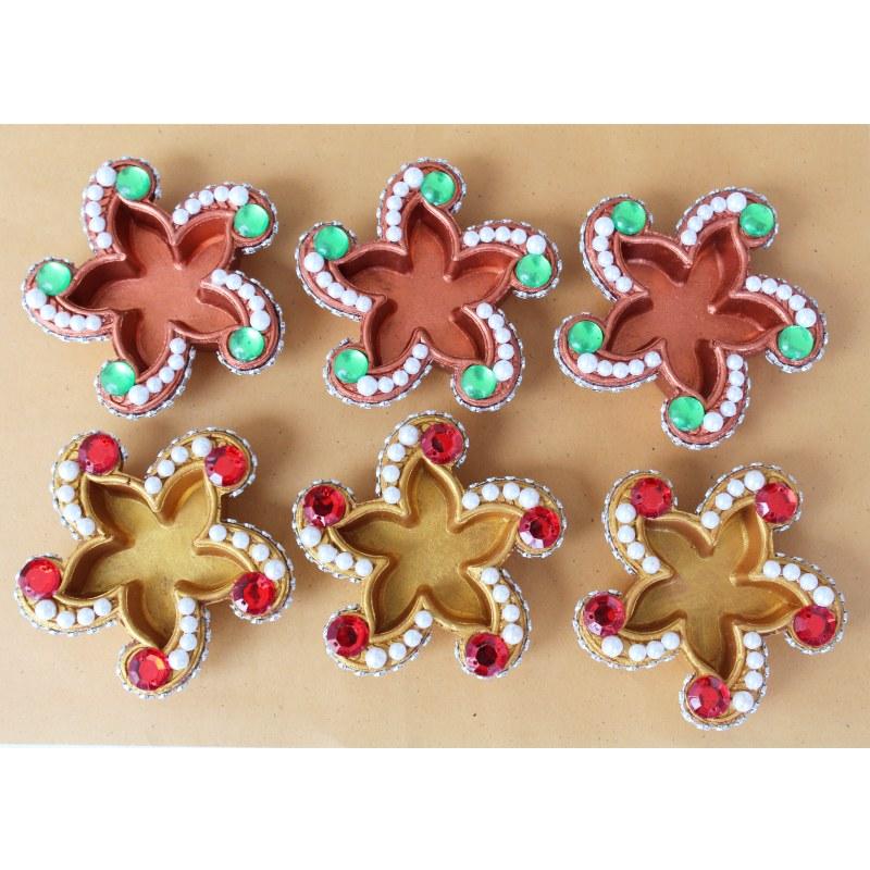 Decorative diya kairi shape 6 piece online shopping for Art and craft diya decoration