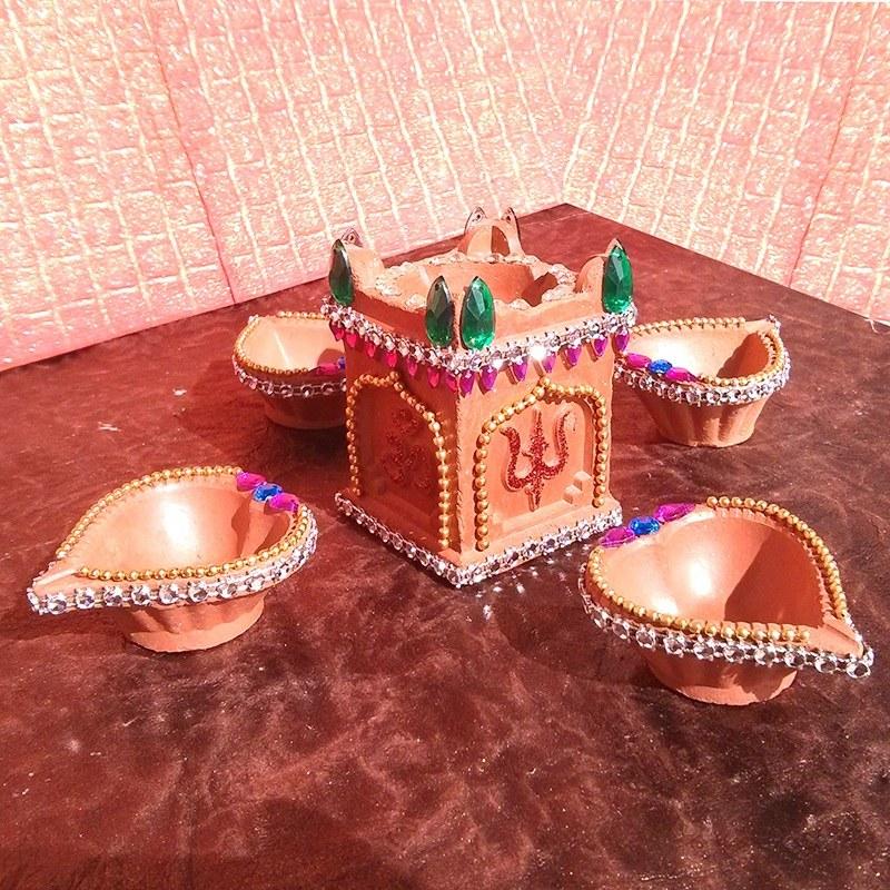 4 decorative diya tulsi vrindavan set online shopping for Art and craft diya decoration